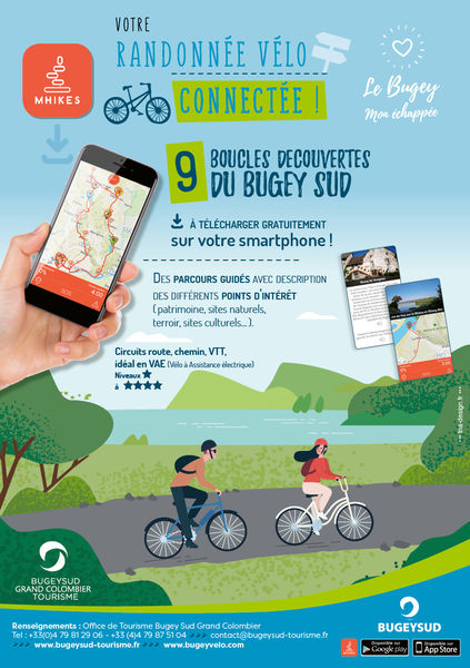 E-bikes discovery loops in Bugey with the app Mhikes.